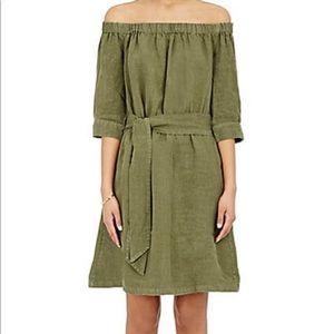 Frame off the shoulder linen medium green dress